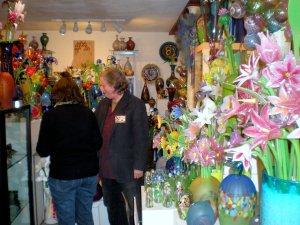 Guests enjoying the abundant glass work
