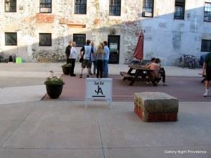 Follow the signs through the courtyard.