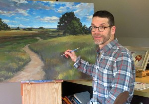 Artist and illustrator Rick Shiers in his North Attleboro studio.