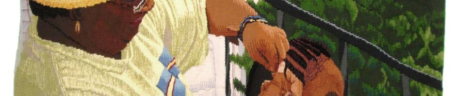 Bonnie Schultz Platzer exhibits hadnwoven Gobelin Tapestries at the BankRI Turks Head Gallery